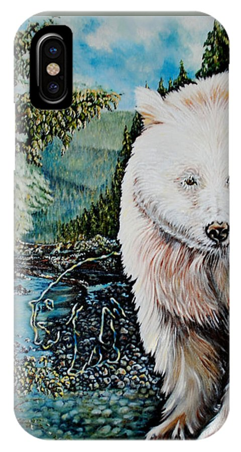 Spirit Bear IPhone X Case featuring the painting Spirit Bear by Susan Moore