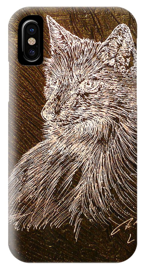 Fox IPhone X Case featuring the painting Spirit Fox by Rick Silas