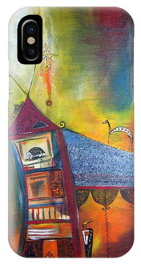 Indian House IPhone X Case featuring the painting Spirit House by Sarah Wharton White