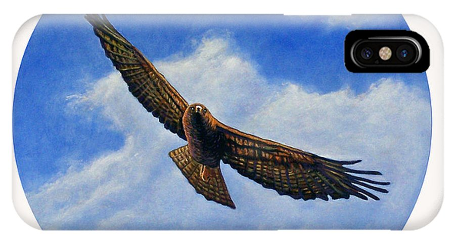Hawk IPhone Case featuring the painting Spirit In The Wind by Brian Commerford
