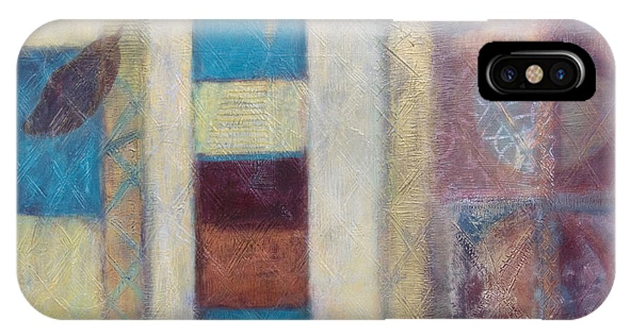 Spiritual IPhone X Case featuring the painting Spirit Of Gold - States Of Being by Kerryn Madsen- Pietsch