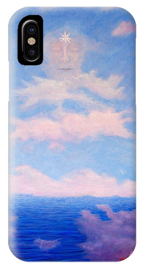 Buddha IPhone X / XS Case featuring the painting Spirit Of The Lake by Brian Commerford