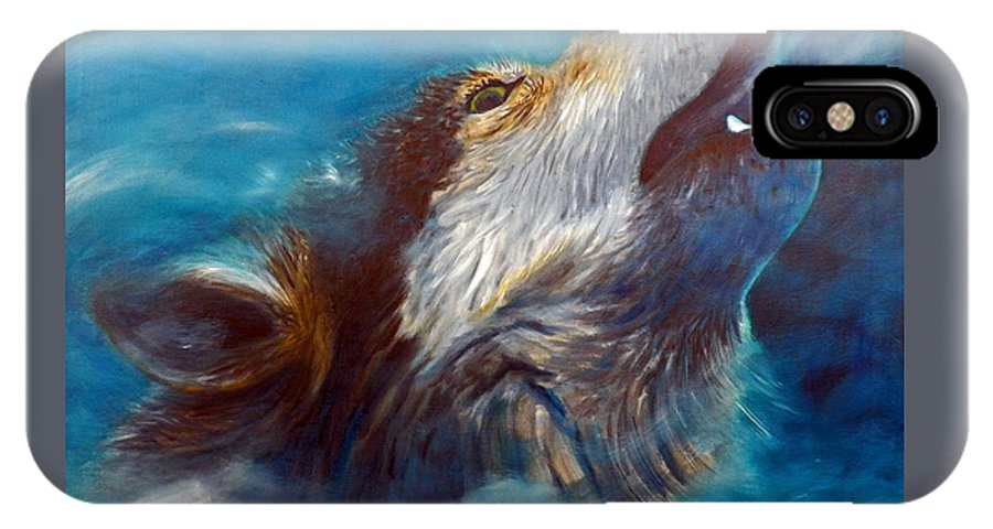 Wolf IPhone X Case featuring the painting Spirit Of The Wolf by Brian Commerford