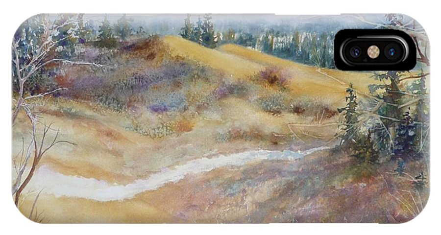 Landscape IPhone X Case featuring the painting Spirit Sands by Ruth Kamenev
