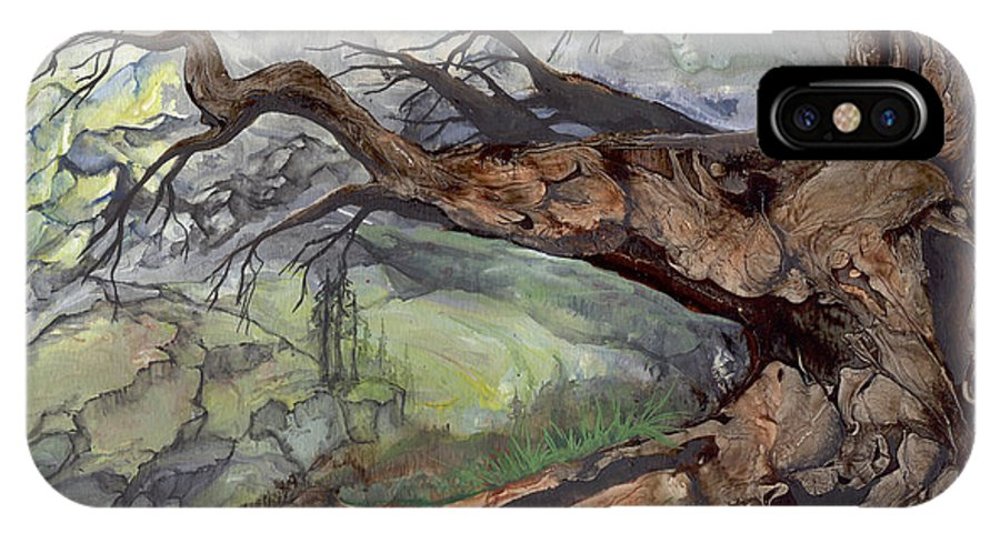 Bark IPhone X Case featuring the painting Spirit Tree by Sherry Shipley