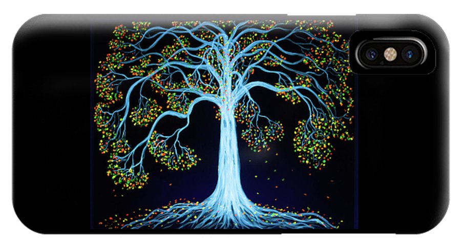 Tree Black Light IPhone X Case featuring the painting Spirit Tree by Tina Law