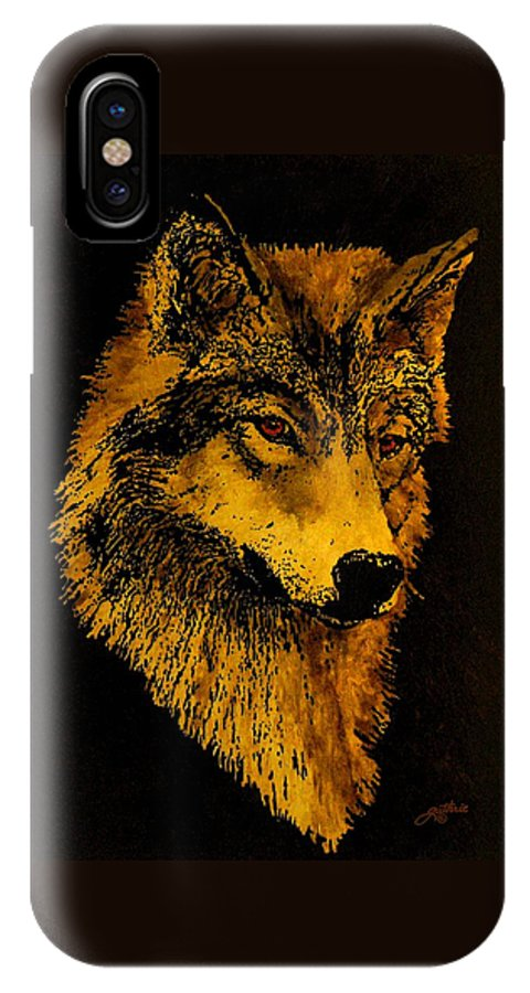 Wolf IPhone X Case featuring the painting Spirit Wolf by John Guthrie