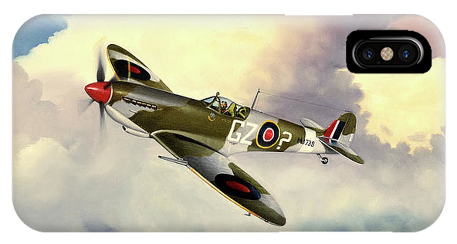 Military IPhone X Case featuring the painting Spitfire by Marc Stewart