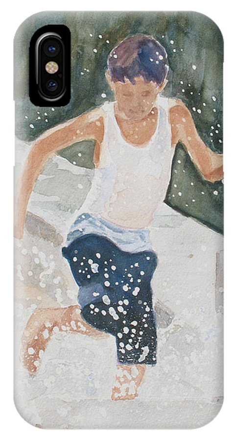 Boy IPhone X Case featuring the painting Splash Dance by Jenny Armitage