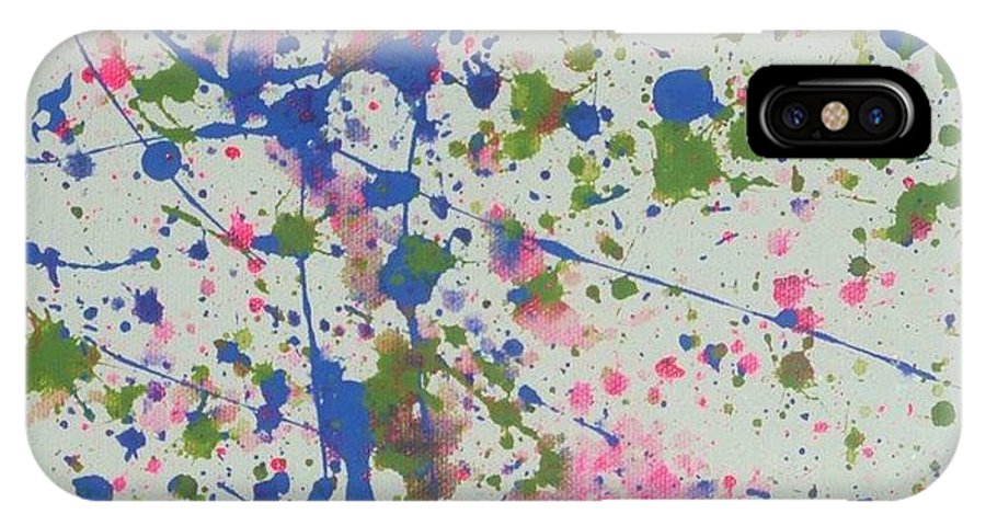 Abstract IPhone X Case featuring the painting Splash Of Color by Barb Montanye Meseroll