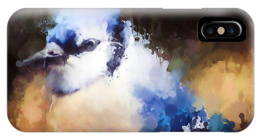 Blue Jay IPhone X Case featuring the photograph Splatter Art - Blue Jay by Kerri Farley