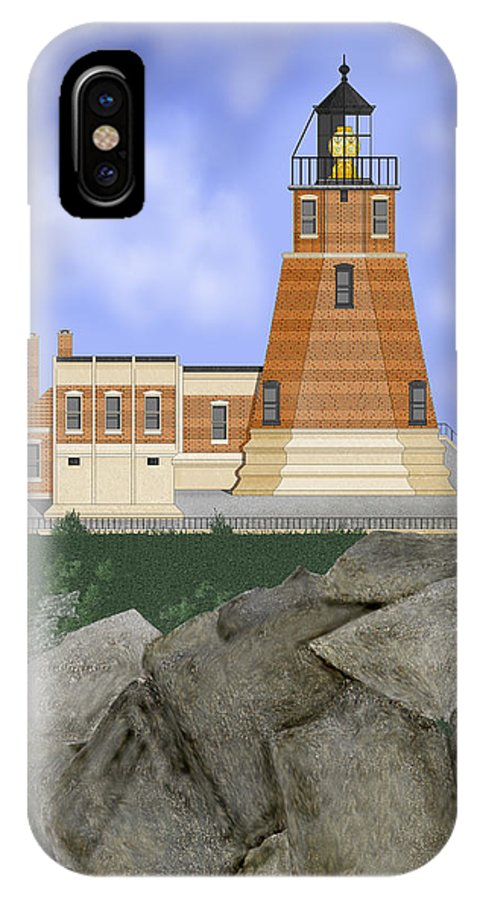 Split-rock Lighthouse IPhone X Case featuring the painting Split Rock Lighthouse on the Great Lakes by Anne Norskog