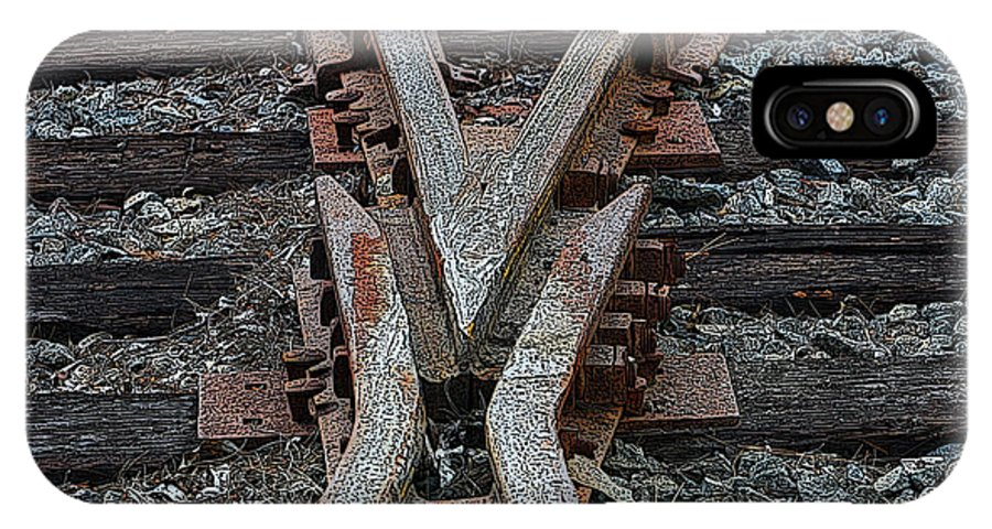 Railroad IPhone X Case featuring the digital art Split Track by Tommy Anderson
