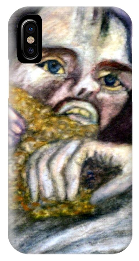 Spiritual Portrait IPhone X Case featuring the painting Sponge Christ Your Eyes by Stephen Mead