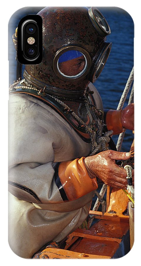 Hard Hat IPhone X Case featuring the photograph Sponge Diver by Carl Purcell