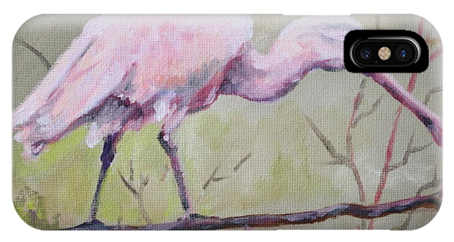 Bird IPhone X Case featuring the painting Spoonbill by Carol Mueller