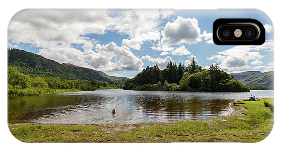 Cumbria Lake District IPhone X Case featuring the photograph Spot The Swimming Dog In Derwnt Water Lake by Iordanis Pallikaras