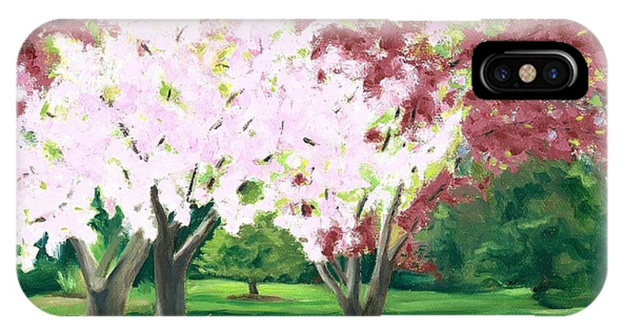 Spring IPhone X Case featuring the painting Spring At Osage Land Trust by Paula Emery