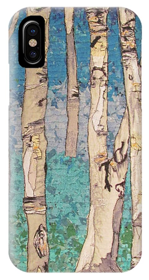 Birch Trees IPhone X Case featuring the tapestry - textile Spring Birch by Dolores Fegan