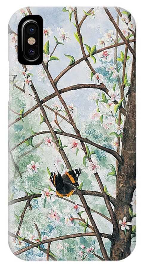 Butterfly IPhone Case featuring the painting Spring Blossom by Mary Tuomi