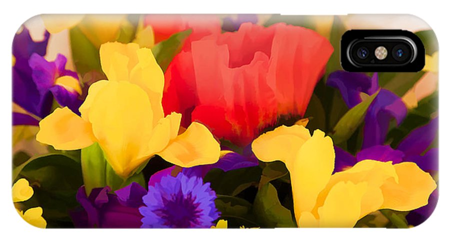 Flowers IPhone X Case featuring the digital art Spring Bouquet by Janet Fikar