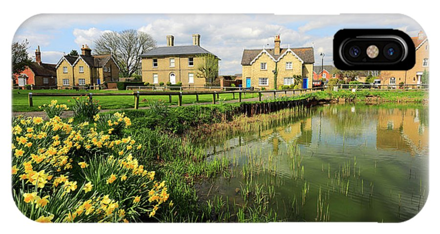 Blue Sky IPhone X Case featuring the photograph Spring Daffodils, Ramsey Village Pond, Cambridgeshire, England by Dave Porter