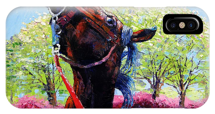 Horse IPhone X Case featuring the painting Spring Fever by John Lautermilch
