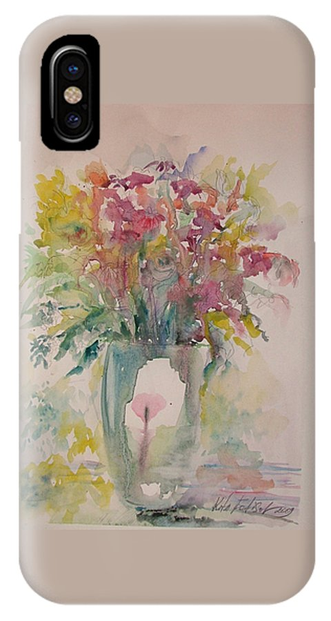 Still Life IPhone X Case featuring the painting Spring Flowers by Rita Fetisov