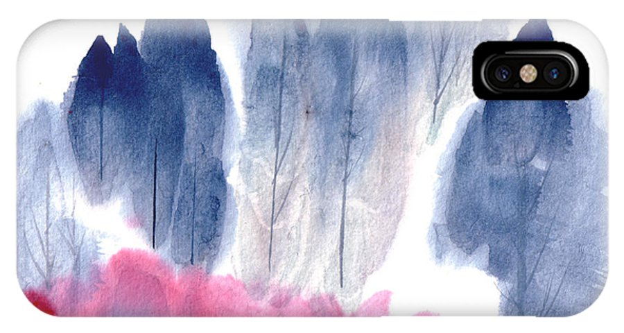 A Forest With Red Blooming Bushes In Spring. This Is A Contemporary Chinese Ink And Color On Rice Paper Painting With Simple Zen Style Brush Strokes.  IPhone X Case featuring the painting Spring Forest by Mui-Joo Wee