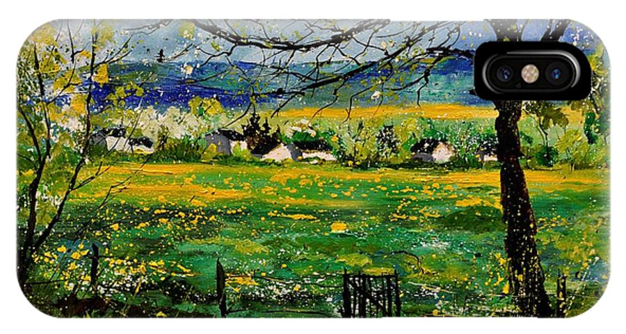 Landscape IPhone X Case featuring the painting Spring In Herock by Pol Ledent