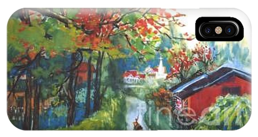 Spring IPhone X Case featuring the painting Spring In Southern China by Guanyu Shi