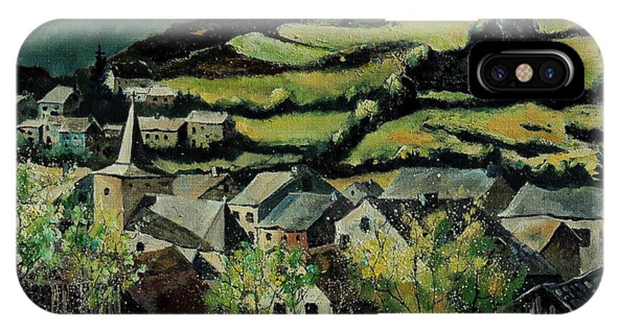 Spring IPhone X Case featuring the painting Spring In Vresse Ardennes Belgium by Pol Ledent