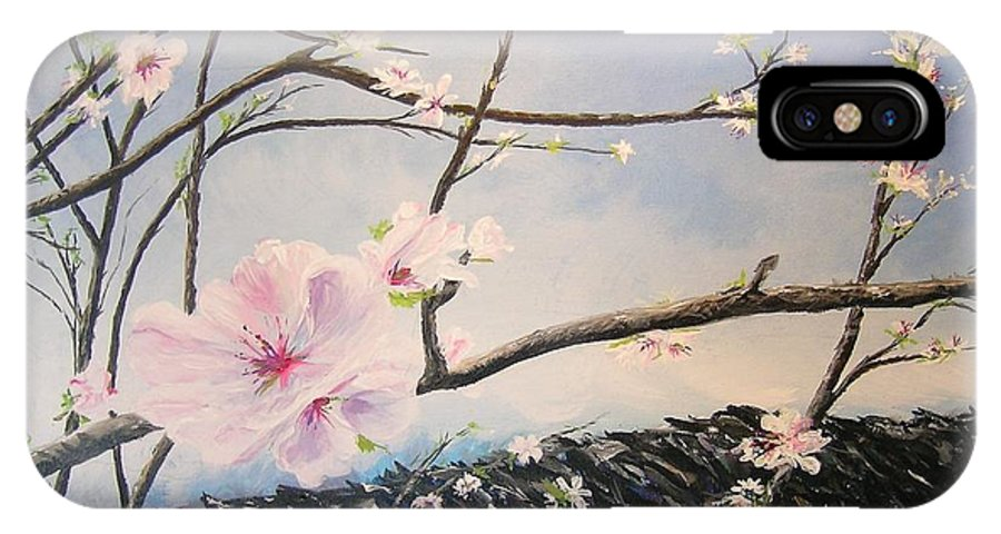 Flower IPhone X Case featuring the painting Spring Is In The Air by Lizzy Forrester