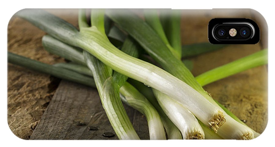Onion IPhone X Case featuring the photograph Spring Onions by Julie Woodhouse