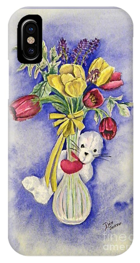 Tulip IPhone X Case featuring the painting Spring Peek-a-boo I Love You by Dale E Jackson