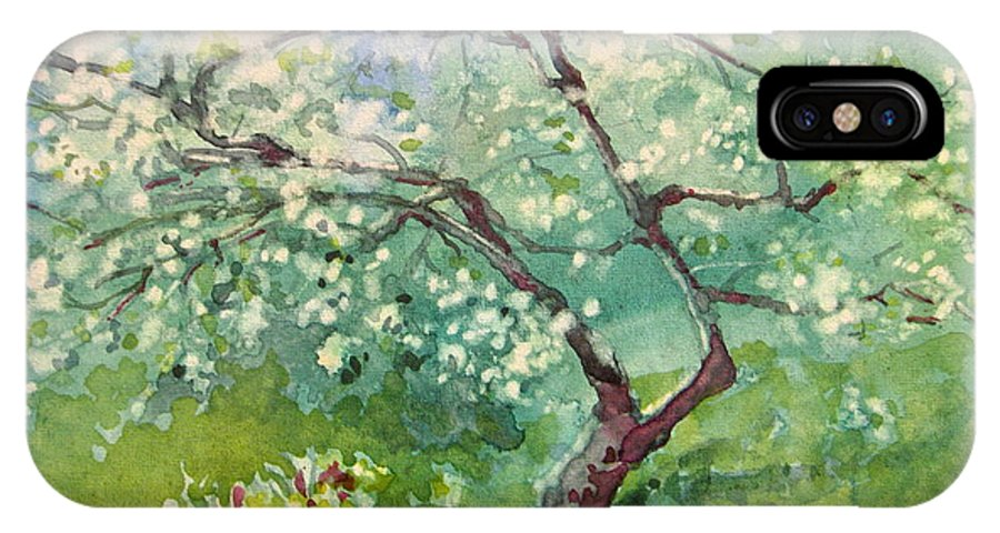 Plum Tree IPhone X Case featuring the painting Spring Plum by Elizabeth Carr