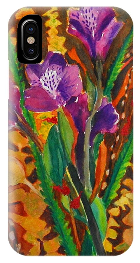 Abstract Floral IPhone X Case featuring the painting Spring Purple Bouquet by Henny Dagenais
