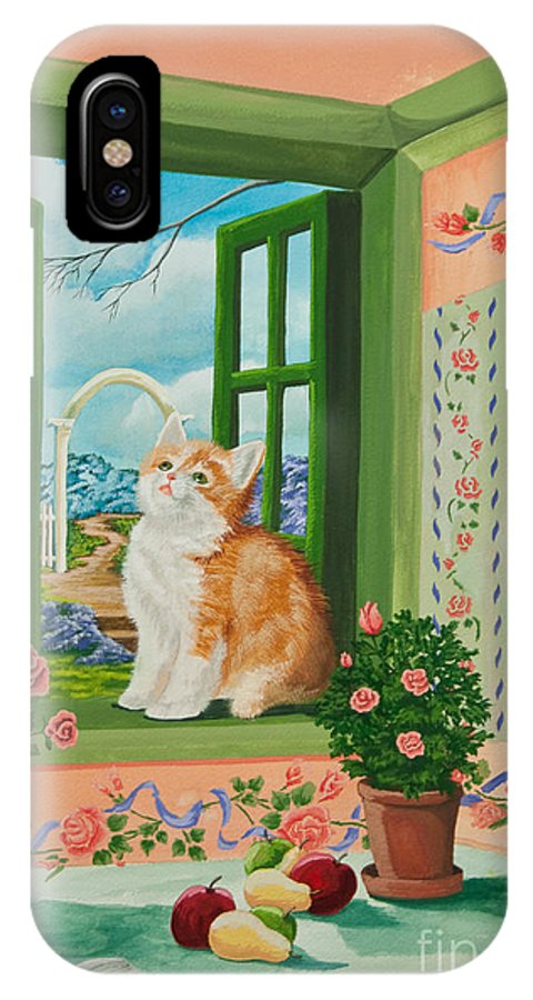Kittens IPhone X / XS Case featuring the painting Spring Through My Window by Charlotte Blanchard