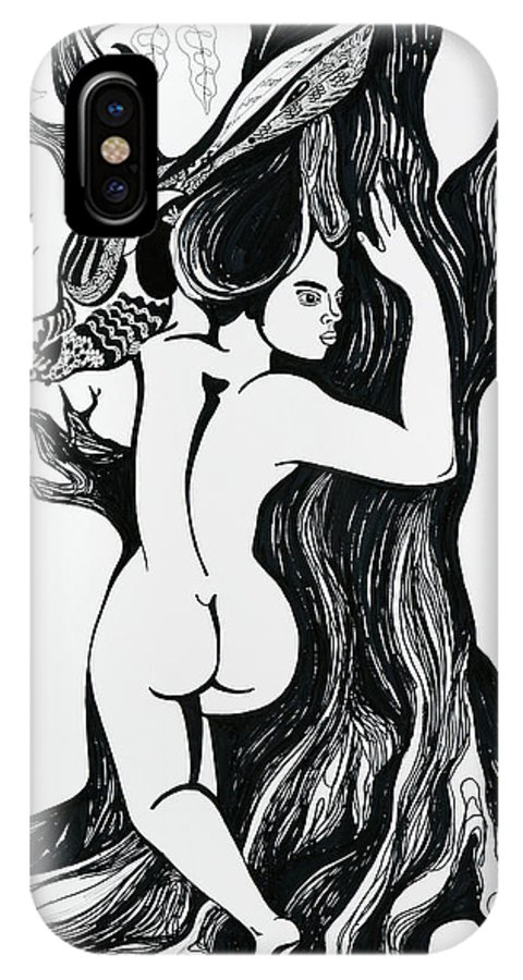 Surreal IPhone X Case featuring the drawing Spring by Yelena Tylkina