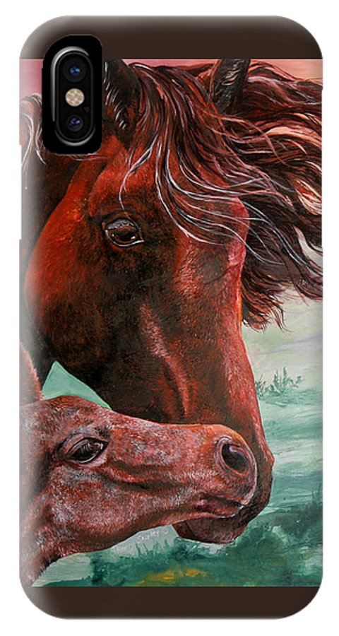 Horse IPhone X / XS Case featuring the painting Springtime Kisses by Sherry Shipley