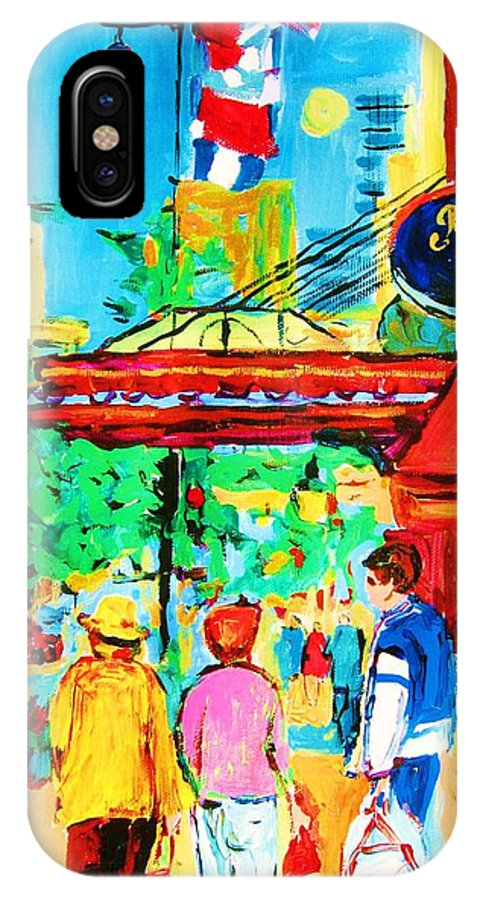 Paintings Of The Ritz Carlton On Sherbrooke Street Montreal Art IPhone Case featuring the painting Springtime Stroll by Carole Spandau
