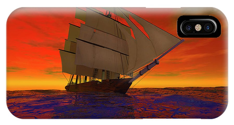 Adventure IPhone X Case featuring the digital art Square-rigged Ship At Sunset by Carol and Mike Werner