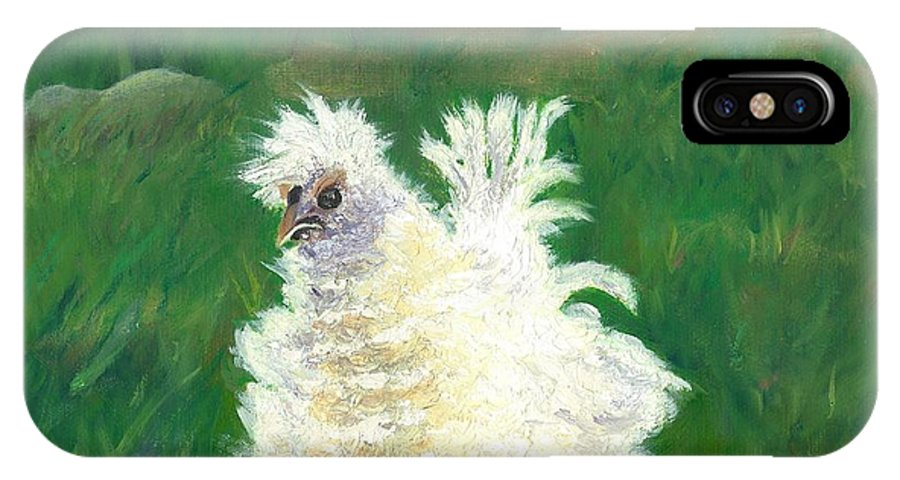 Bantam Frizzle Farmscene Chickens Hen Bird Nature Animals Spring Freerangers IPhone X Case featuring the painting Squiggle by Paula Emery