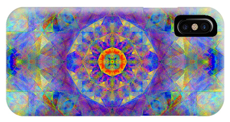 Sri Yantra IPhone X / XS Case featuring the digital art Sri Yantra Light by Susan Bloom