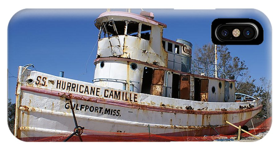 Ship IPhone X Case featuring the photograph S.s. Hurricane Camille by Debbie May