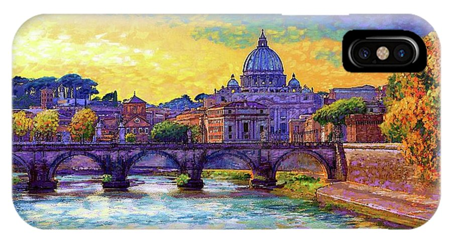 Italy IPhone X Case featuring the painting St Angelo Bridge Ponte St Angelo Rome by Jane Small