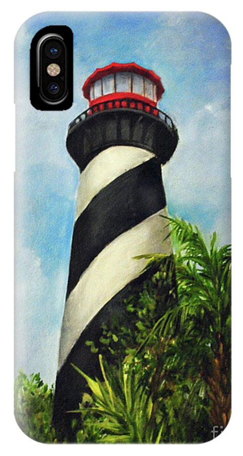 Lighthouse IPhone X Case featuring the painting St. Augustine Lighthouse by Carolyn Shireman