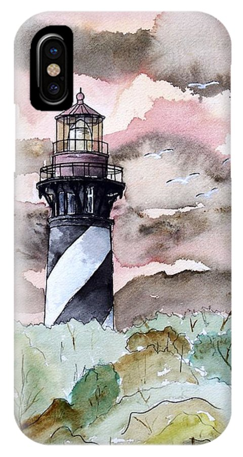 Lighthouse IPhone X Case featuring the painting St Augustine Lighthouse by Derek Mccrea
