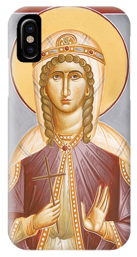 St Barbara IPhone X Case featuring the painting St Barbara by Julia Bridget Hayes