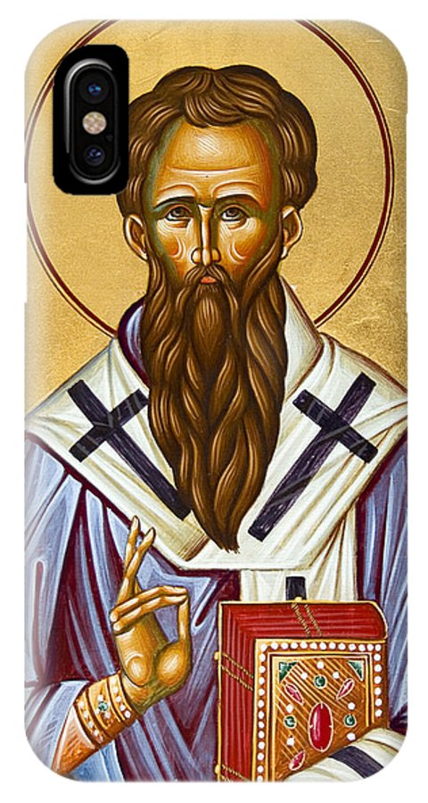 Icon IPhone X Case featuring the painting St Basil The Great by Julia Bridget Hayes